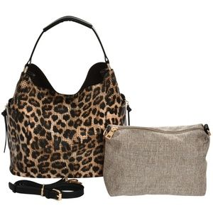 Leopard Perforated Handbag and Crossbody Set